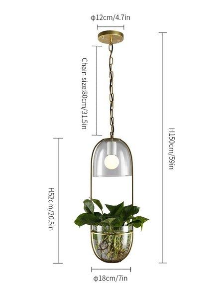 Water Plants Glass Pendant Light